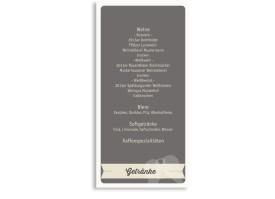 Hochzeitsmenükarten Flugticket (Postkarte) Beige