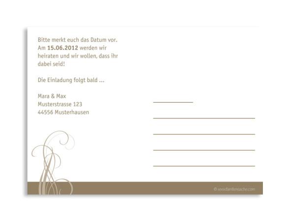 Rückseite, Einladungs-Postkarte zur Hochzeit, Motiv Dublin, Farbversion: beige
