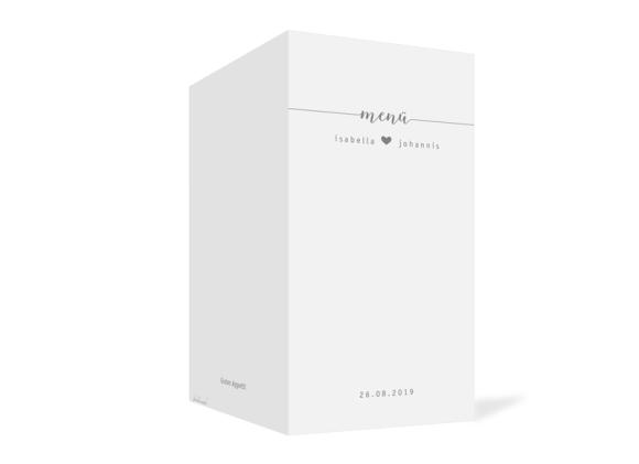 Menükarte (Klappkarte, DL hochkant), Motiv: Gent Pure, Aussenansicht, Farbvariante: grau