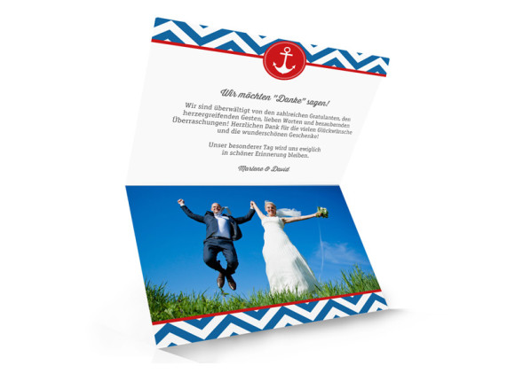 Hochzeitsdanksagungen Hamptons Anchor, Innenansicht der Farbversion: blau/rot