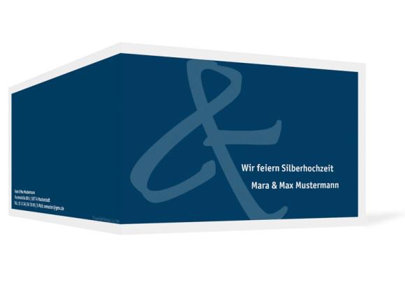 Außenansicht, Einladung zur Silbernen Hochzeit, Motiv Bern (ohne Foto), Farbversion: blau