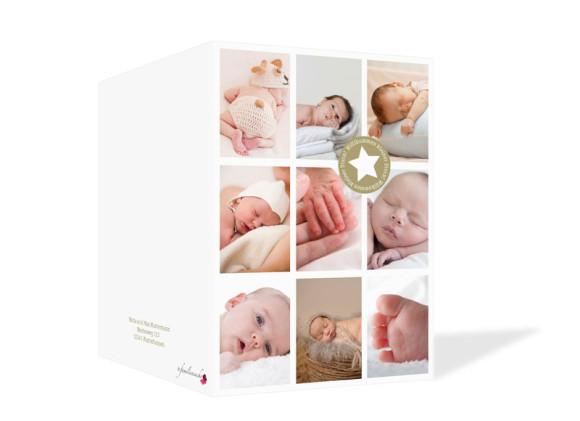 Geburtskarte, Motiv Sina/Sami, Außenansicht, Farbversion: beige