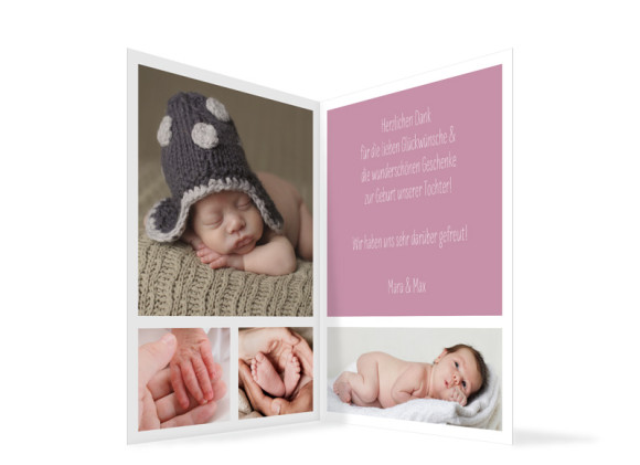 Karte zur Geburt  (Klappkarte, hochkant), Motiv: Edie/Eddy,  Aussenansicht, Farbversion: brombeer