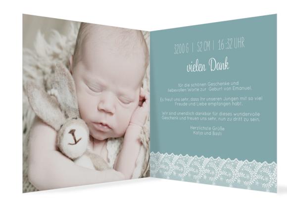 Babykarte quadr. (300 x 150 mm), Motiv: Elisabeth/Emanuel, Innenansicht, Farbvariante: blaugruen
