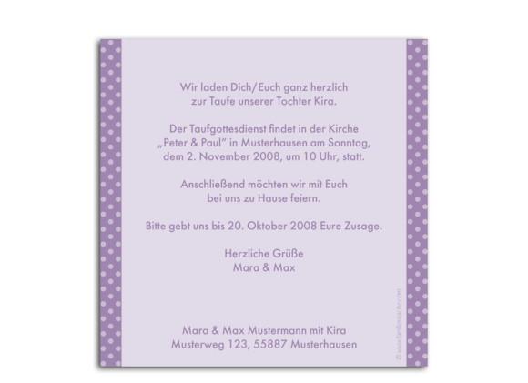 Rückseite, Postkarte zur Taufe, Motiv Kira/Kim, Farbversion: flieder