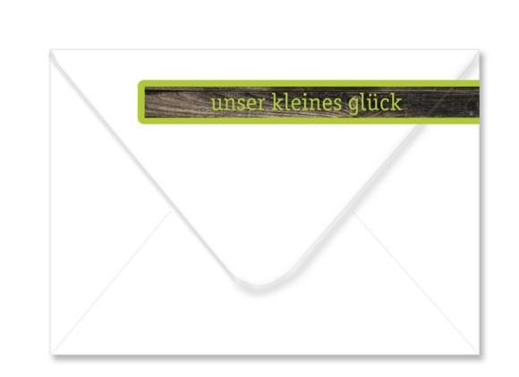 Umschlag Rückseite, Adressbanderole, Motiv Holz, Farbversion: apfelgrün