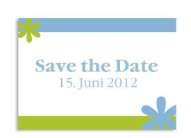 Save-The-Date-Hochzeitskarte Berlin (Postkarte A6) Blau/Grün