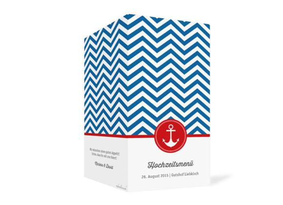 Menükarten Hamptons Anchor, Außenansicht der Farbversion: blau/rot