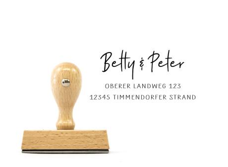 """Adress-Stempel """"Timmendorfer Strand"""" (rechteckiger Holzstempel), ca. 70 x 30 mm"""