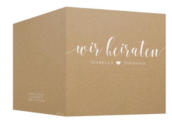 Einladung zur Hochzeit (quadr. Klappkarte, Kraftpapier), Motiv: Malaga, Aussenansicht, Farbvariante: weiß