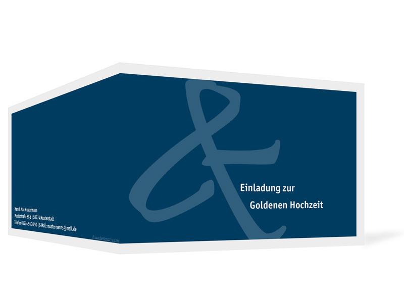 ... Außenansicht, Einladung Zur Goldenen Hochzeit, Motiv Bern, Farbversion:  Blau