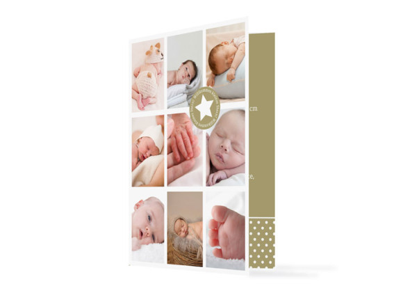 Geburtskarte Sina/Sami (Klappkarte, mit 10 Fotos)