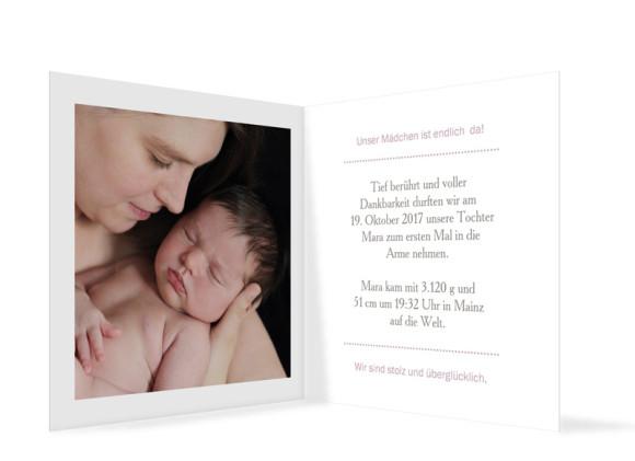Babykarte als Danksagung Mara/Max, Innenansicht in Brombeer