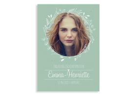 """Konfirmationseinladung """"Henriette/Henry"""" (Postkarte Hochformat mit Foto) gruen"""