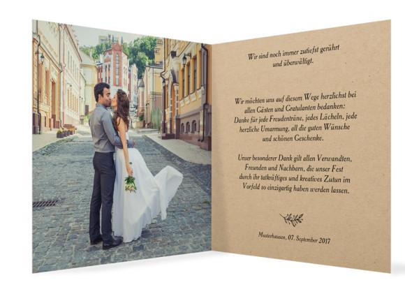 Dankeskarte zur Hochzeit Nature, Klappkarte 300x150, Innenansicht in schwarz