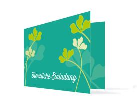 Geburtstagseinladungen Growing Fresha (Klappkarte) Grün/Türkis