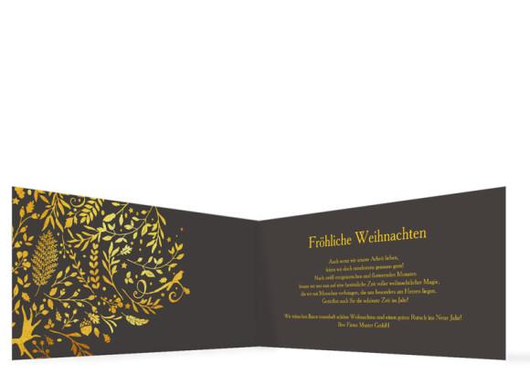 Firmen-Weihnachtskarte Naturgold (Klappkarte), Innenansicht in der Farbvariante anthrazit