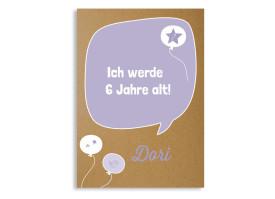 Geburtstagseinladung Sprechblase Flieder