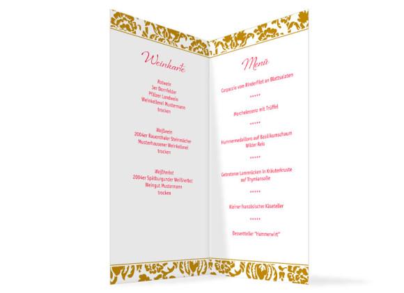 Innenansicht, Menükarte zur Hochzeit (Klappkarte), Motiv Barcelona, Farbversion: beige