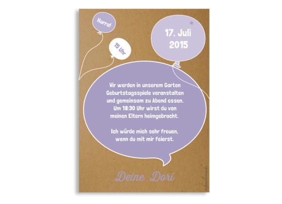 Geburtstagseinladung Sprechblase, Rückseite der Farbversion: flieder