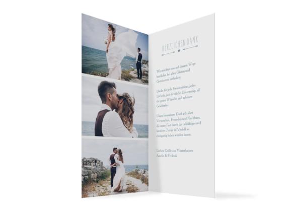 Danksagung Hochzeit (Klappkarte DL), Motiv: Rotterdam, Innenansicht, Farbvariante: blau