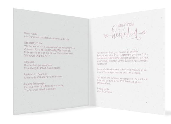 """Einladung z. Hochzeit """"Blumenkranz"""" (quad. Klappkarte), Motiv: Blumenkranz, Innenansicht, Farbvariante: altrosa"""