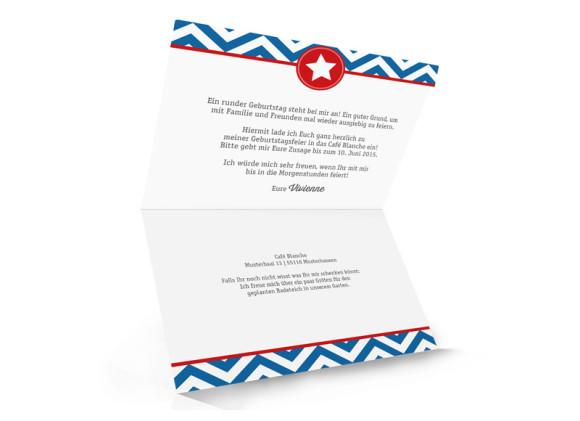 Einladungen Hamptons Star, Innenansicht der Farbversion: blau/rot