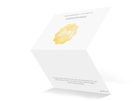 Einladungskarten zur Taufe Sonne, Außenansicht in gelb
