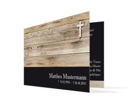 Trauerkarten Holz (Klappkarte C6) Schwarz