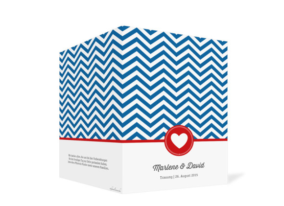 Kirchenheft Hamptons Heart, Außenansicht der Farbversion: blau/rot