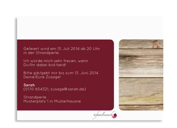 Rückseite Einladungskarte Zürich zum Geburtstag, Farbversion: bordeaux