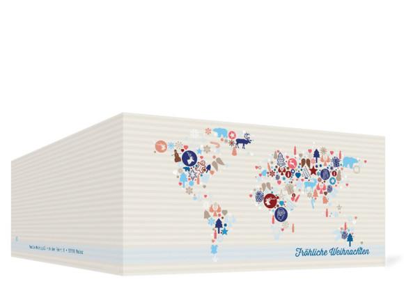 Grußkarten zu Weihnachten Weltkarte, Außenansicht der Farbversion: blau