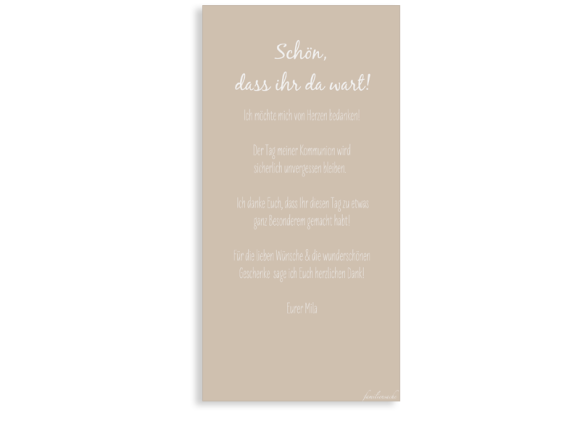 Kommunionsdanksagung (Postkarte DL hoch, ein Foto), Motiv: Segen, Rückseite, Farbvariante: beige