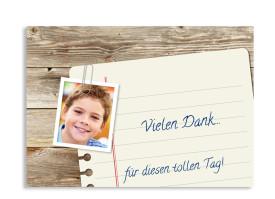 Kommunionsdanksagung Notizzettel (Postkarte mit Foto) Braun