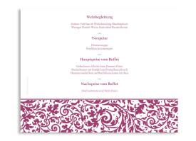 Windlicht Rokko Weiß als Menükarte zur Hochzeit Brombeer