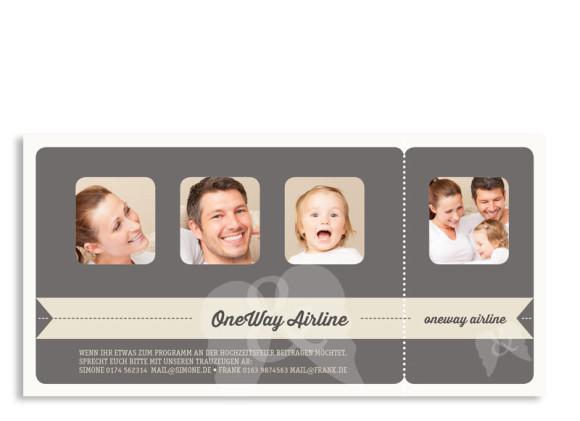 Einladungen zur Hochzeit Flugticket, Rückseite der Farbversion: beige