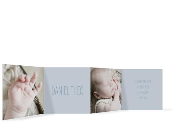 Geburtskarte (Leporello mit drei Fotos), Motiv: Dana/Daniel, Rückseite, Farbvariante: graublau