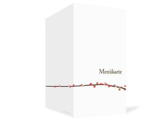 Außenansicht, Menükarte zur Hochzeit (Klappkarte), Motiv Yokohama, Farbversion: koralle