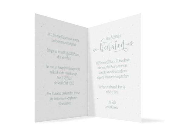 Einladung zur Hochzeit Blumenkranz, Klappkarte A6 hoch, Innenansicht in grün