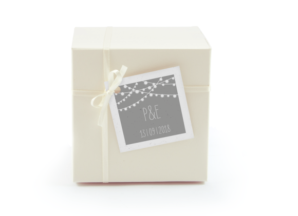 Geschenkanhänger (quadratisch), Motiv: Lichterkette, Aussenansicht, Farbvariante: grau