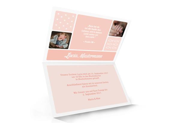 Einladung zur Taufe Lucia/Luca, Innenansicht in der Farbvariante: apricot