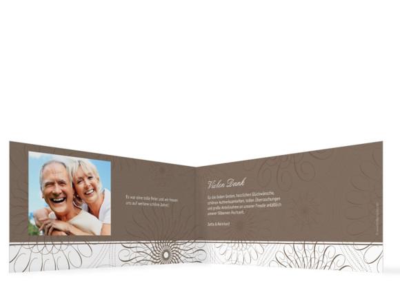 Danksagung Silberne Hochzeit, Motiv Mandala (Klappkarte DL quer, mit Foto), Innenansicht, Farbversion: beige