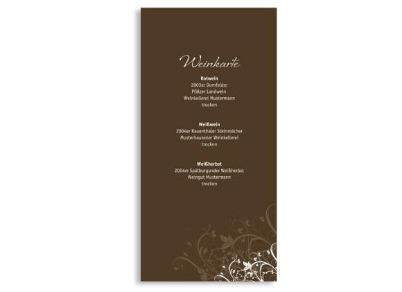 Rückseite, Menükarte zur Hochzeit (DIN Lang-Karte, zweiseitig), Motiv Wien, Farbversion: braun