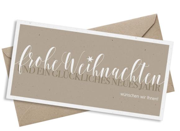 Geschäftliche Weihnachtskarte Frohe Weihnachten, DL Postkarte in beige