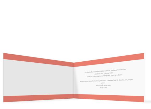 Firmen-Weihnachtskarte Haustiere (Klappkarte), Innenansicht in der Farbvariante: apricot