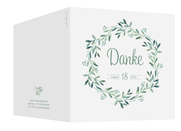 Danksagungskarten Hochzeit (300 x 150 mm), Motiv: Blätterkranz DS, Aussenansicht, Farbvariante: Grün