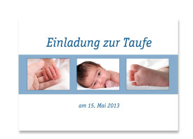 Taufkarte Jette/Jannik (Postkarte) Blau