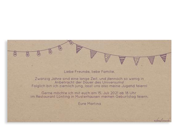 Einladungskarten Geburtstag (Postkarte DL quer - 2 Fotos), Motiv: Lebensweg, Rückseite, Farbvariante: aubergine