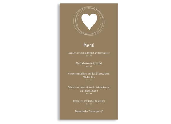 Menükarten zur Hochzeit Pur (DIN Lang-Karte)