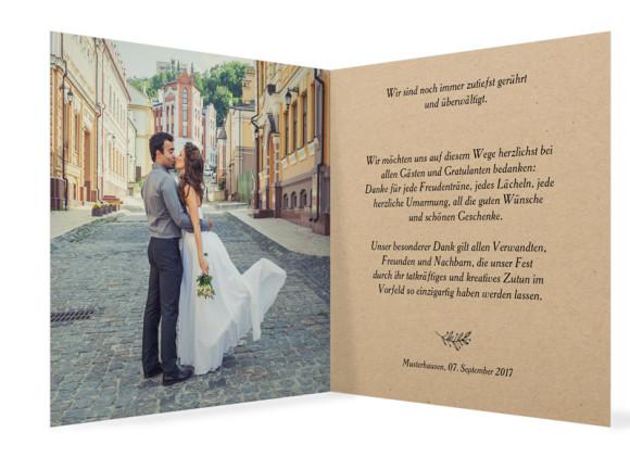 Danksagung zur Hochzeit Nature, Innenansicht in Schwarz